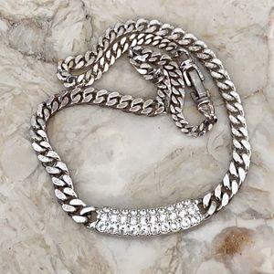 Swarovski Heavy Curb Link & Crystals Necklace